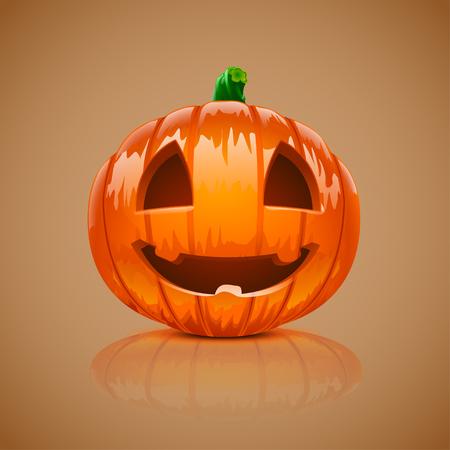 reflect: illustration of single pumpkin for halloween with reflect Illustration