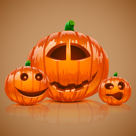 reflect: illustration of small set of three pumpkins with reflect