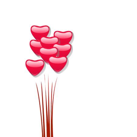 illustraion: cartoon illustraion of a lot bubbles hearts on white background