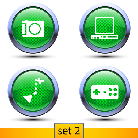 joypad: illustration of second set of four realistic icons with green color and shadows such as photocamera, navigator, joypad, computer