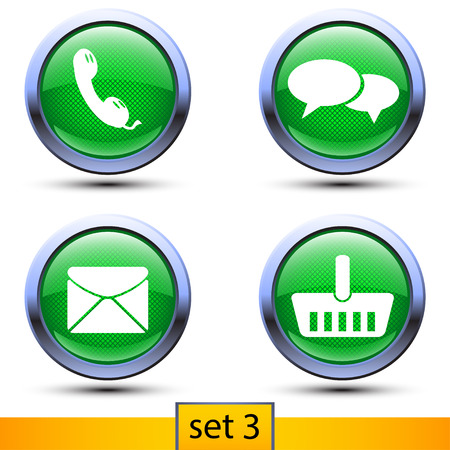 blank button: illustration of third set of four realistic icons with green color and shadows such as telephone, talking, mail, buying