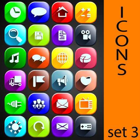 anything: illustration of set of 72 different icons for anything. each icon has shadow and different color. on black background Illustration