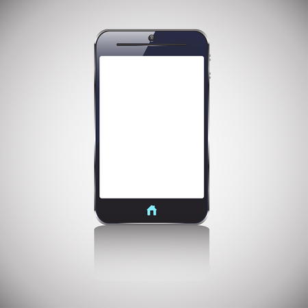 phone button: illustration of colored dark smart phone with blank screen and blue button home