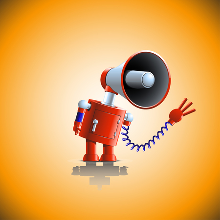 business red robot with loudspeaker are talking