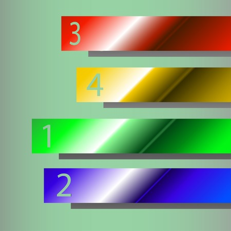 illustraion: cartoon illustraion of four different colours ribbons with numbers Illustration