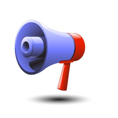 loud speaker: cartoon illustration of blue loud speaker with red handle. item has own shadow