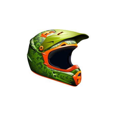 computer crash: illustration of motocross helmet green color with orange color Stock Photo