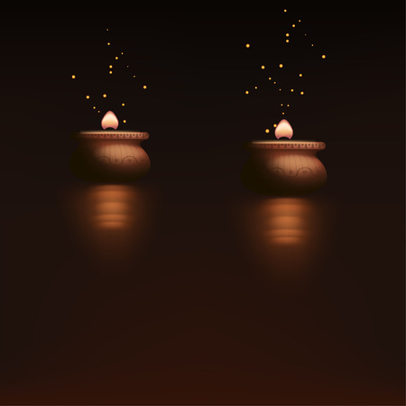 darkness: illustration of two burning candles in the darkness