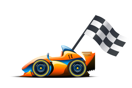 racer flag: illustration of race car and flag on it on white background