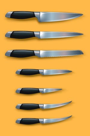 small group of objects: illustration of set of different types of knives with shadows on yellow background