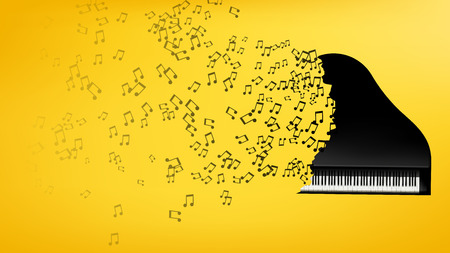intertainment: illustration of black piano explosion of signs on yellow background
