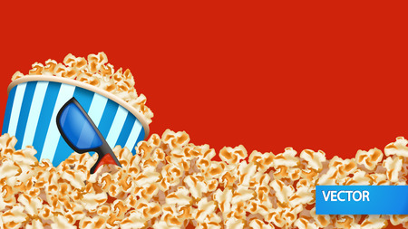 od: illustration of a lot od popcorn with bucket and glasses on red color background