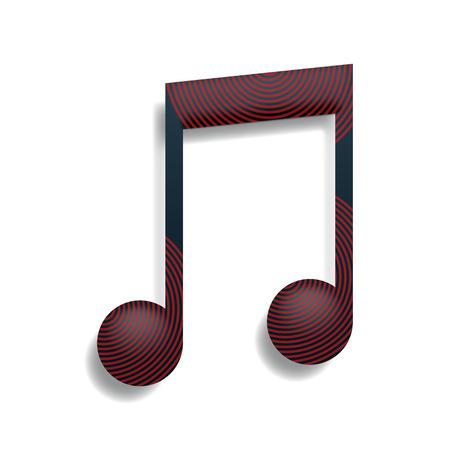semiquaver: illustration of single music sign on white background