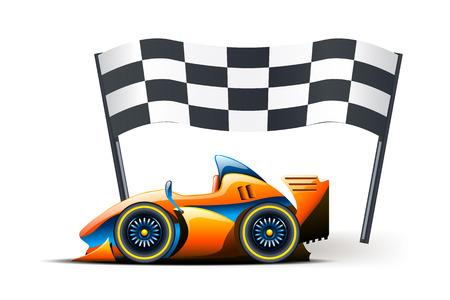 formula one: illustration of formula one and flag on it on white background