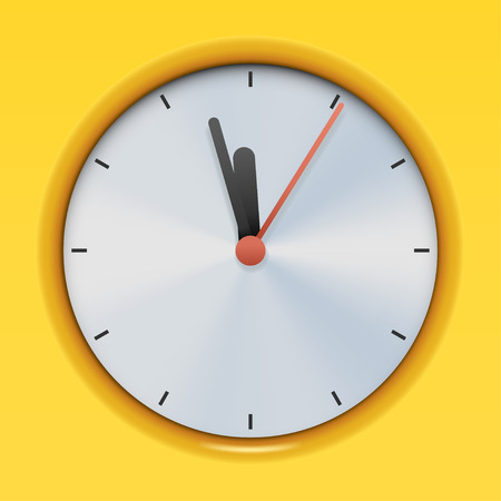 extruded: illustration of extruded classic clock on yellow background