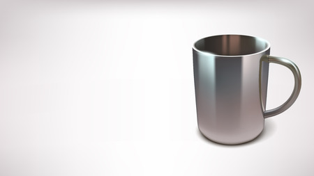 insulated drink container: illustration of realistic steel cup on white background with shadow