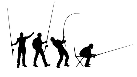 illustration of set of male silhouette which are fishing in different poses