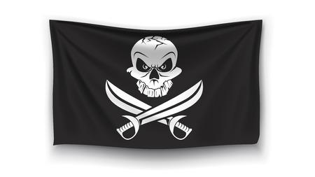 drapeau pirate: illustration réaliste drapeau de pirate avec le logo avec l'ombre sur fond blanc Illustration