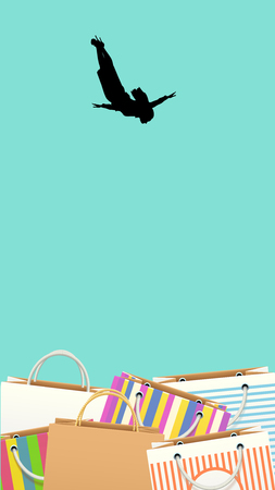 illustration of diving woman in a lot of bags