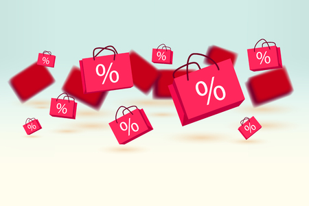 sopping: illustration of flying sopping bags with discount a lot Illustration