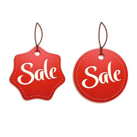 diferent: illustration of two diferent type red colot skin sale labels with shadow ob white background