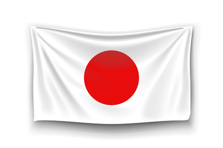 japanise: illustration of realistic flag of japan with shadow on white background