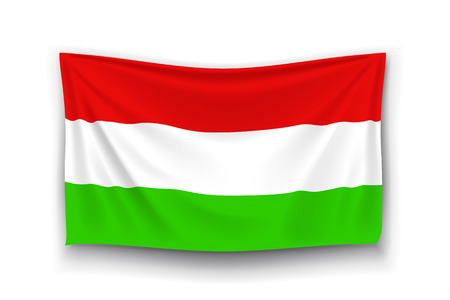 hungarian: illustration of hungarian realistic flag with shadow on white background