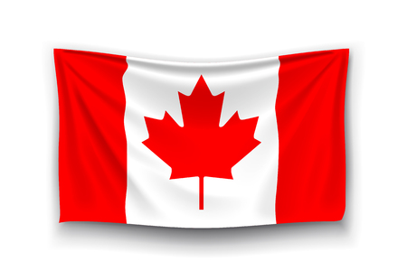 canadian flag: illustration of canadian realistic flag with shadow on white background