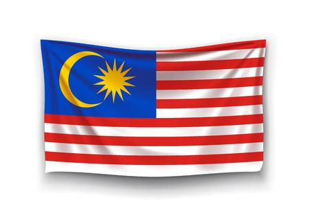 白い背景に影でマレーシアの現実的な国旗のイラスト