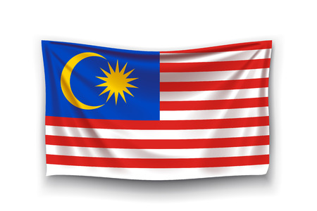 illustration of malaysia realistic flag with shadow on white background Vettoriali