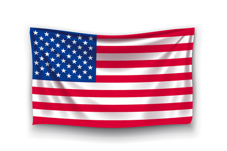 stipes: illustration of unated states of america realistic flag with shadow on white background