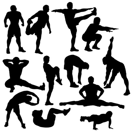set of athletes in different poses silhouette isolated Illustration