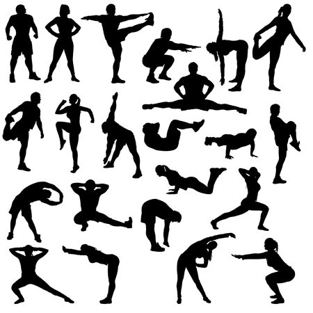 workout: big set for gym. there are a lot of different poses man and woman Illustration