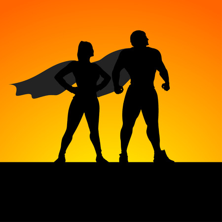 cartoon illustration of two super heroes standing silhouettes Illustration
