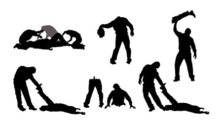 buried: Black silhouettes of zombies isolated on white