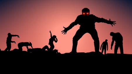 Illustration der Gruppe von Zombie in der Dunkelheit