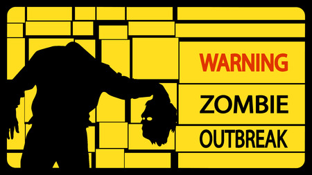 invation: illustration of zombie man silhouette with head on yellow background