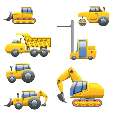 yellow tractors: cartoon illustration of set of different yellow type of tractors and heavy maschines view from left side