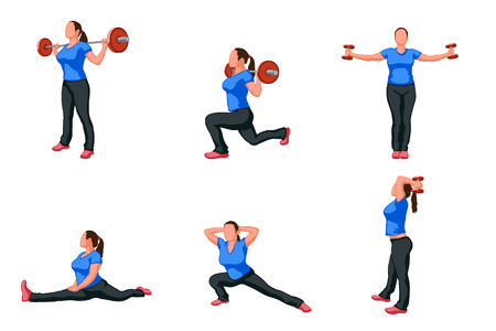 out of body: illustration of set working out woman in different poses with some stuff