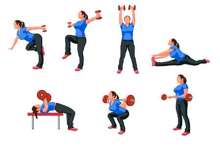 exercising: set of work out woman in different poses