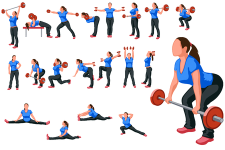 illustration of athlete woman workout with some stuff in different poses