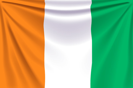 d: illustration of realistic flag of cote d ivoire background with folds