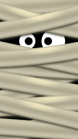 intimidate: illustration of ghost with big white eyes with stripes