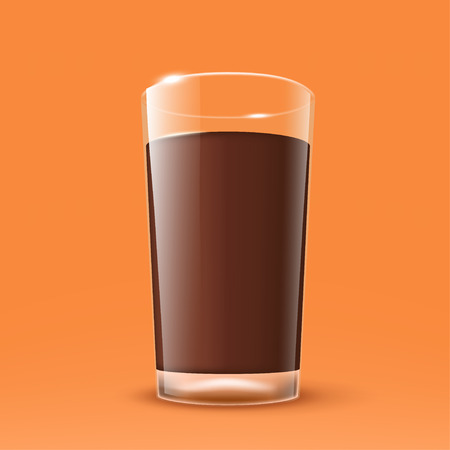 mixed drink: illustration of realistic transparent glass with cocoa on orange background