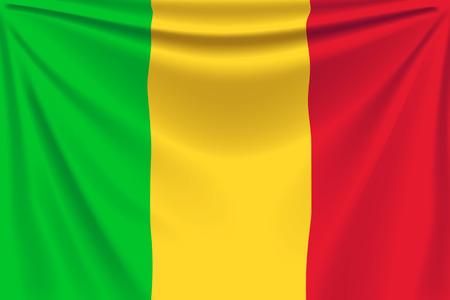 mali: illustration of realistic flag of mali background with folds
