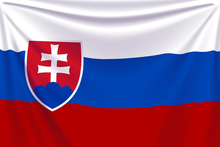 flag banner: illustration of realistic flag of slovakia background with folds