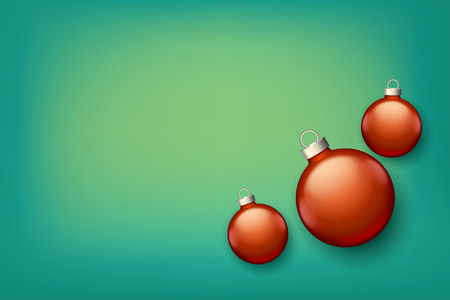 color reflection: illustration of set of red color xmas balls with reflection lying on blue background