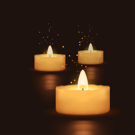 funeral background: illustration of three burning candles in the darkness