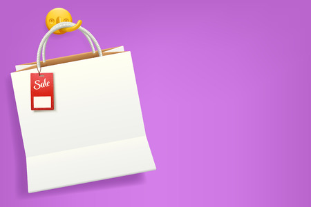 staying: illustration of white color bag with red label on it staying on violet background Illustration