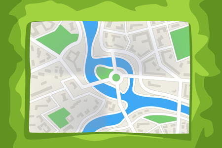 diminishing view: illustration of lying paper map of city on green colol background Illustration